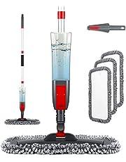Homgif Mop met sproeifunctie, sproeiwisser vloerwisser met sproeifunctie, home keuken wisser vloerreiniging, spray mop met waterreservoir en 3 bijgewerkte wasbare microvezelhoes