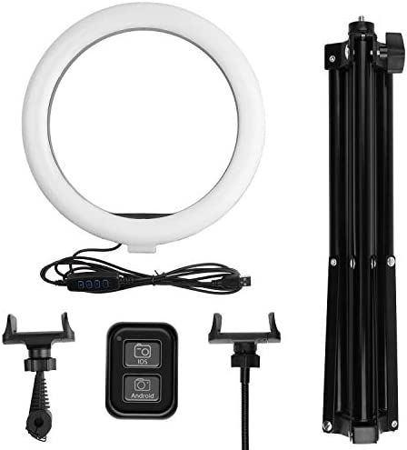 "10"" LED Selfie Ring Light, Dimmable Ring Light with 3 Light Modes & 11 Brightness and Tripod Stand Phone Holder for YouTube TikTookay Photography Compatible with iPhone Android, Black"
