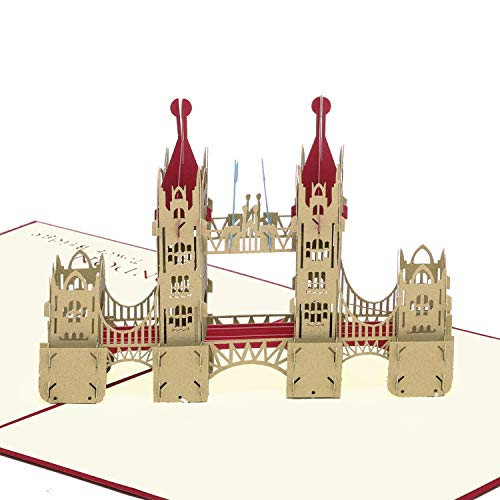 Paper Spiritz New Tower Bridge - Red Pop up Birthday Card Wedding Valentine's Day Card Anniversary - Laser Cut 3D pop up card Love all Occasion - Handmade Thank You Greeting Card for Kids Baby - Tower Day