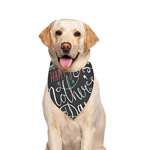 JTMOVING Dog Scarf Vintage Happy Mothers Day Lettering Greeting Printing Dog Bandana Triangle Kerchief Bibs Accessories for Large Boy Girl Dogs Cats Pets Birthday Party Gift