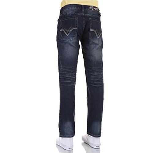 Unko Mens Slim Skinny Fit Casual Straight Leg Blue Motorcycle Denim Pants