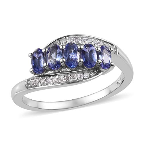Oval Tanzanite Promise Ring 925 Sterling Silver Platinum Plated Jewelry for Women Size 6 Ct ()