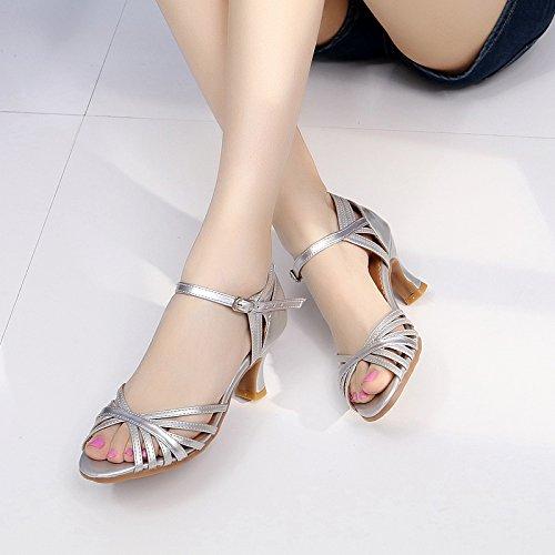 Gtvernh-femmes D'été Bouche Poisson Chaussures De Danse Trois Étapes Avec Latine Danse Danse Chaussures Sandales Chaussures Carré 36 Argenté