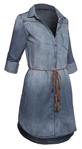 Button Dress Shirt Front Belted - Women's Denim Button Down Belted Shirtdress with Pockets