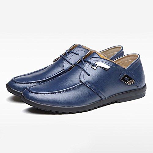 Hommes Chaussures à Lacet en Cuir Souple Cire Métallique Décontractées Basse Bout Rond Semelle Antidérapantc Loisir Derby Bleu RuaMjE