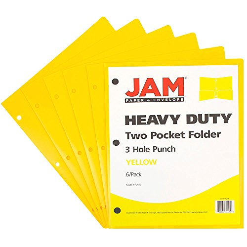 JAM Paper Plastic Two Pocket 3 Hole Punched Presentation School Folder - Yellow - 6/pack