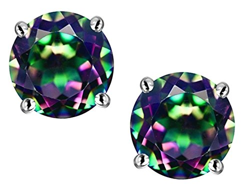 Star K Round 7mm Mystic Quartz Earring Studs Sterling Silver