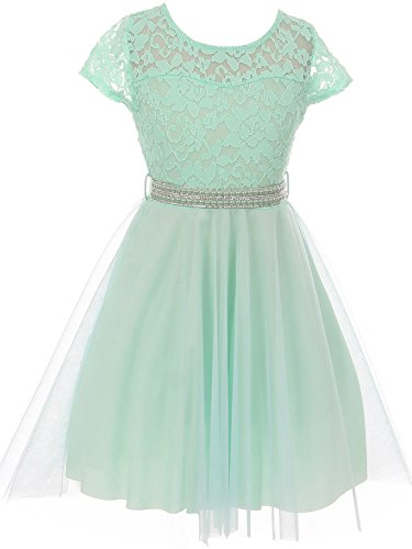 Dreamer P Big Girls' Floral Lace Tulle Pearl Rhinestones Holiday Party Flower Girl Dress Mint 10 (J21KS22)