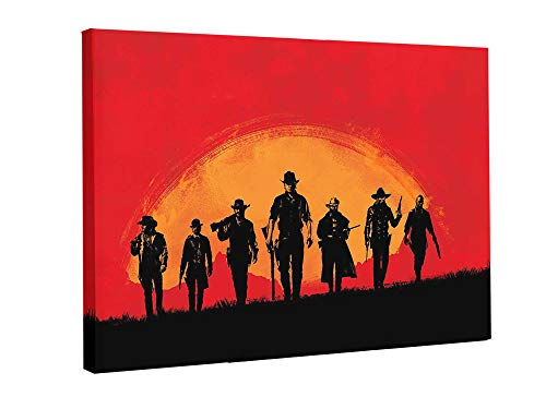 Dead 2 Art - AniMax |Red Dead Redemption 2| Characters & Scenes Printed on Canvas,Framed and Stretched, Game Home Decor, Living Room Bed Room Decor Medium 16x23/ Large 23x35 - Series 2