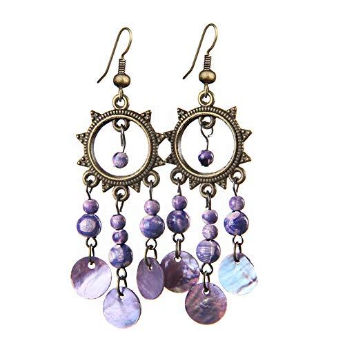 Vintage Sun Flower Hoop Earrings Bohemian Ethnic Shell Wood Bead Disc Tassel Dangle Earrings for Women Girls (purple)