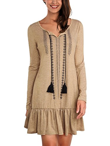 DJT Women's Bohemian Neck Tie Embroidery Loose Tunic Dress Top Large ()