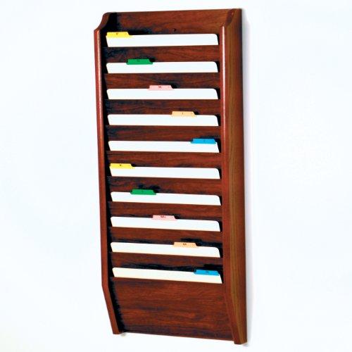 Wooden Mallet 10-Pocket File Holder, Legal Size, Mahogany