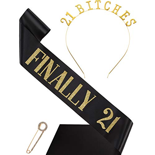 21st Bday Sash - 21st Birthday Costume Set, Include Black