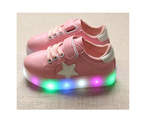 Children Shoes LED Light Kids Shoes with light Baby Boys Girls Lighting Sneakers Casual Children Sneakers (7, Pink) ()