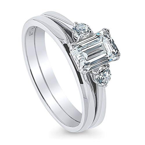 BERRICLE Rhodium Plated Sterling Silver 3-Stone Anniversary Engagement Wedding Ring Set Made with Swarovski Zirconia Emerald Cut 1.22 CTW Size 8