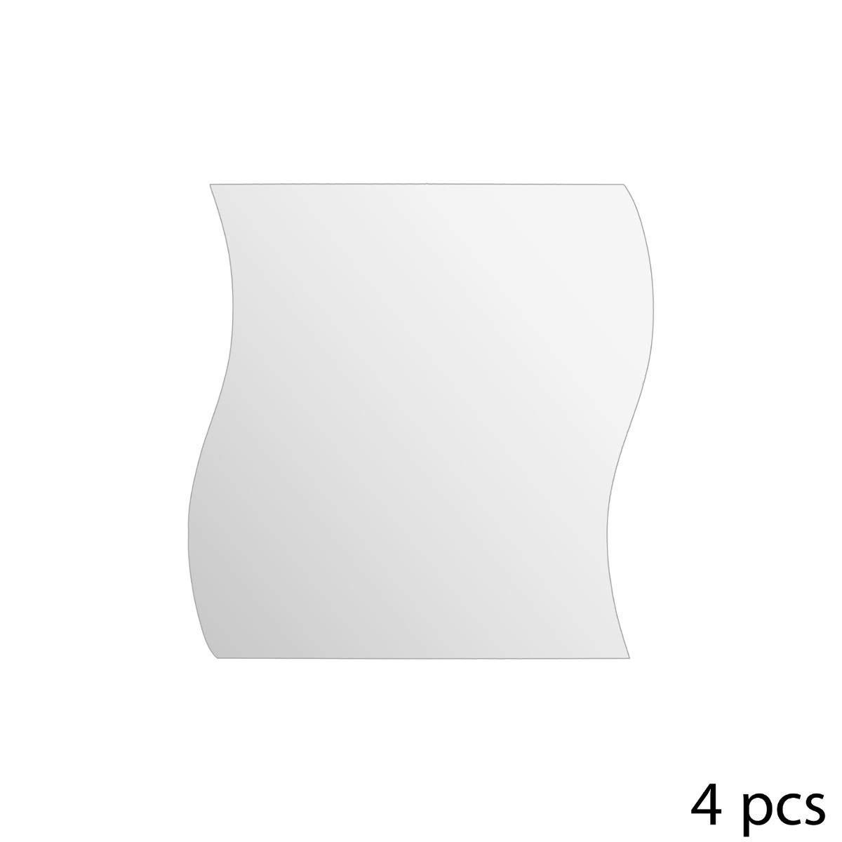 Fixation ultra rapide /à adh/ésifs Ensemble de 4 miroirs vague 20 x 20 cm