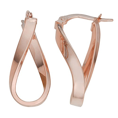 14k Rose Gold High Polish Twisted Oval Hoop Earrings - 14k Gold Twisted Hoop Earrings