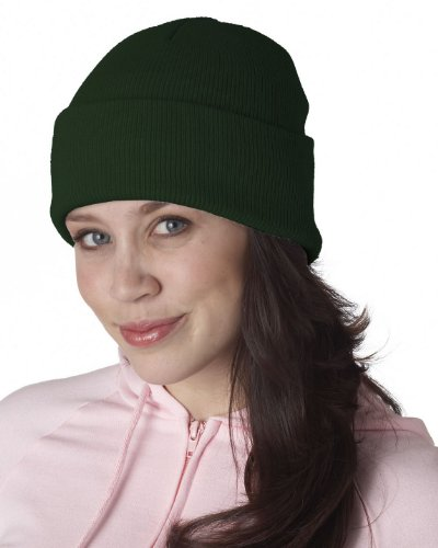 UltraClub Knit Beanie with Cuff one size fits all, Forest - Ultraclub Beanie Knit
