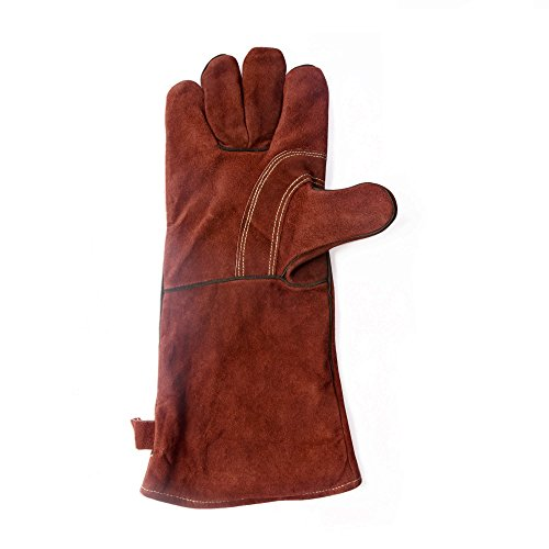 JiaYe Leather Weldings Gloves, Extreme Heat & Fire Resistant Mitts Gloves for Welder,Grill,Oven,Stove,Pot Holder,Fireplace,Animal Handling -16