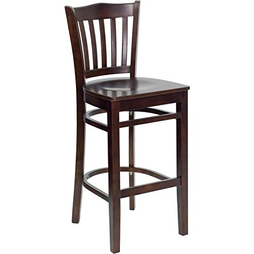 Offex Walnut Finished Vertical Slat Back Wooden Restaurant Bar Stool