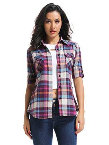 OCHENTA Women's Long Sleeve Button Down Plaid Flannel Shirt M009 Purple XS