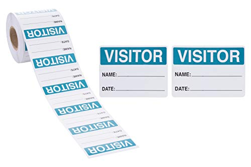 Visitor Sticker - 500-Count Name Label Sticker, Identification Sticker Roll for Vistor Pass at School, Daycare, Hospital, Clinic, Museum, Business, Blue and White, 3 x 2 Inches