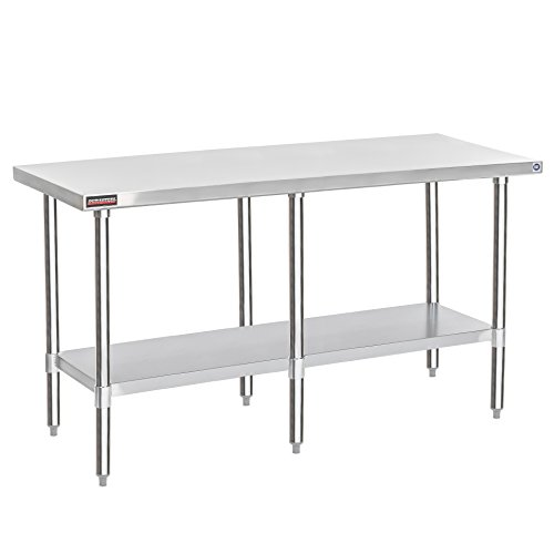 "Worktable Stainless Steel Food Prep 30"" x 72"" x 34"" Height - Commercial Grade Work Table - Good For Restaurant, Business, Warehouse, Home, Kitchen, Garage"