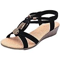 Inverlee Women's Casual Peep-Toe Flat Buckle Shoes Roman Summer Sandals