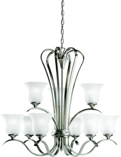 Kichler 10741NI Wedgeport Chandelier 9-Light Fluorescent, Brushed Nickel
