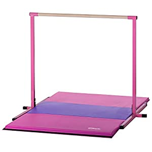Nimble Sports Pink Horizontal Bar, 4 Feet High with Pink and Purple Folding Gym Mat, 4 Feet X 6 Feet