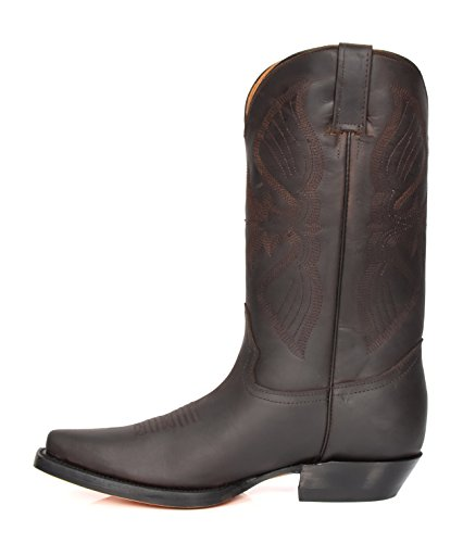 punta vitello da Stivali Heel marrone of a scarpe cowboy Luggage di House vera Hlg10lo lunghezza pelle in Thread western tqaxzw7n