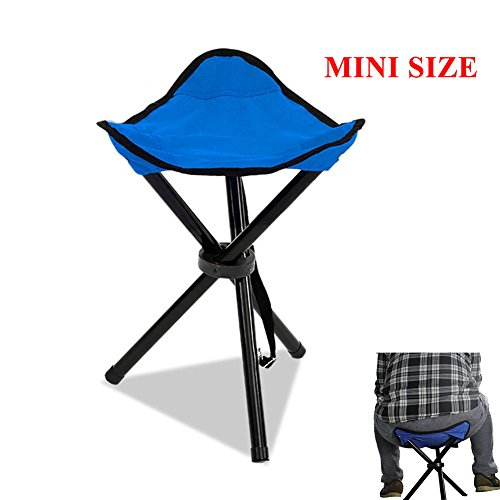 Messar Folding Tripod Stool, Portable Stable Travel Chair Tri-Leg Stool for Outdoor Travel Camping Fishing Hiking Mountaineering Gardening - Mini size (Blue)