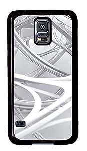 Samsung Galaxy S5 3D white linear 2 PC Custom Samsung Galaxy S5 Case Cover Black