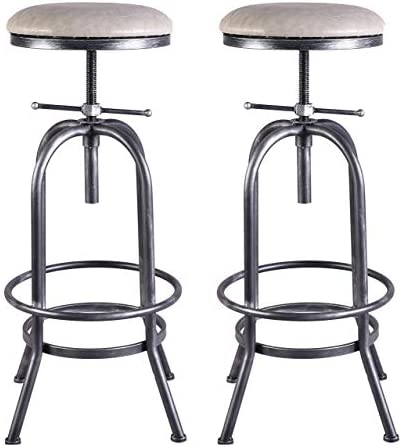 LOKKHAN Set of 2 Industrial Bar Stool,Vintage Adjustable Stool,29-35 Inch Cast Iron Stool,PU Leather Cushion Seat,Swivel Metal Pipe Stool,Counter Height-Extra Tall Pub Height,Fully Welded