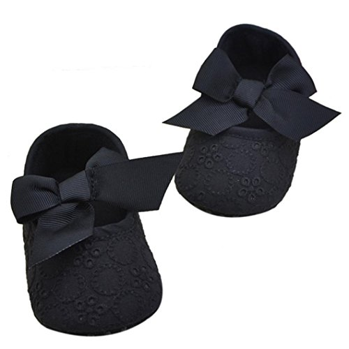 Koly Newborn Baby Girls Soft Sole Bowknot Shoes Soft Bottom Flower Prewalker Sneakers
