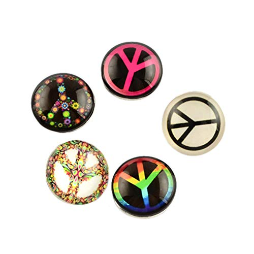 ARRICRAFT 12pcs Brass Jewelry Flat Round Snap Buttons with Peace Sign Glass Beads for Costume Design and DIY Craft, Mixed Color, - Flat Peace Pendant Sign