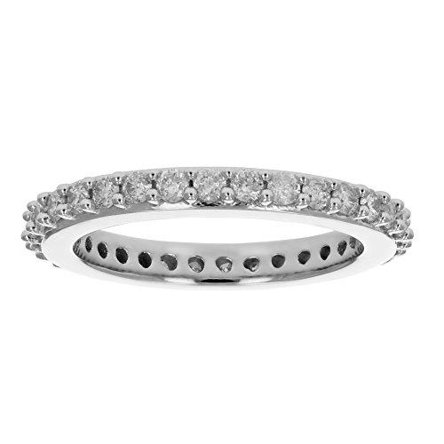1 cttw AGS Certified I1-I2 Diamond Eternity Ring in 14K White Gold Size (14k Eternity Ring)