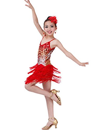 Fashion Latin Dance Costumes Girls Latin Costume Performance Dress Red (Dance Costume Designer Online)