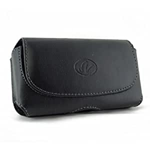 Black Horizontal Leather Look Holster Case Pouch with Belt Loop and Belt Clip For Pantech Burst P9070