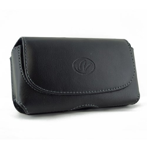 Black Horizontal Leather Case Pouch Holster with Belt Loop and Belt Clip For Nokia 6103 / 6102i