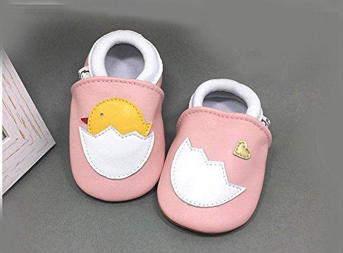 Goldore Baby 100% cuero auténtico con suela blanda recién nacido del niño infantil zapatos antideslizantes Pre-walker 0-2 años rosa del polluelo