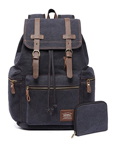 KAUKKO Canvas Vintage Backpack Casual Backpack School Leather Rucksack Outdoor Travel Backpack(Black-1)