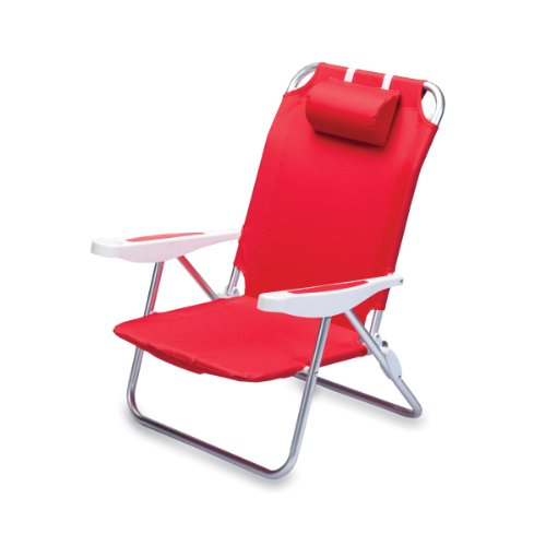 Picnic Time Monaco Folding Beach Chair, Red