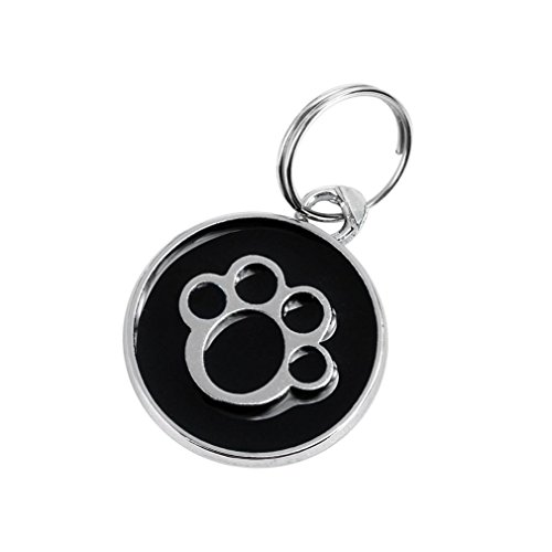 Lotus.flower Never get lost, Cute Metal Paw Shaped Pet Jewelry Necklace Dog Cat ID Name Tags (Black)