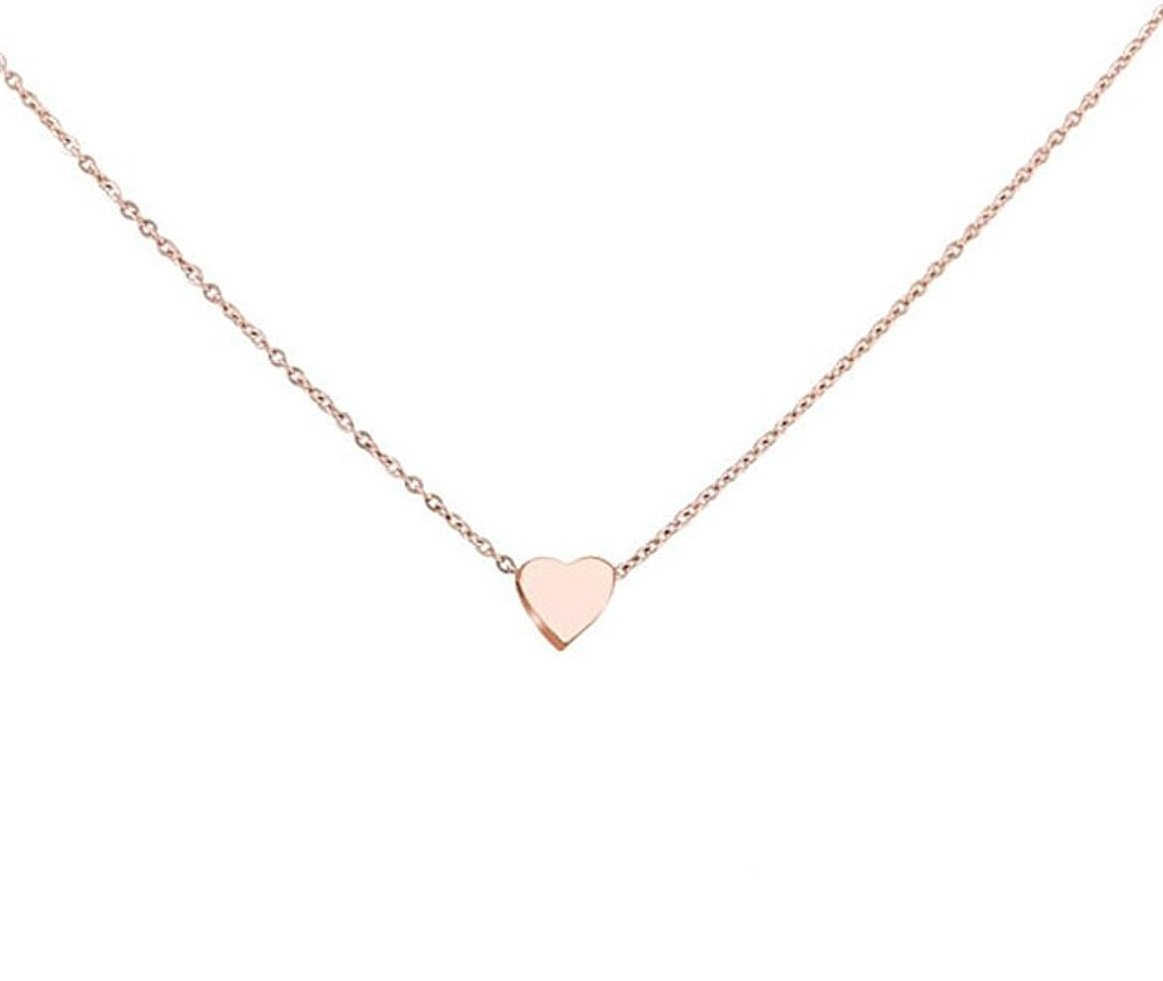 Zen Styles Women's High-Polished Gold Plated Mini Floating Heart Pendant Necklace with Lobster Clasp Closure, Adjustable 16''-18''
