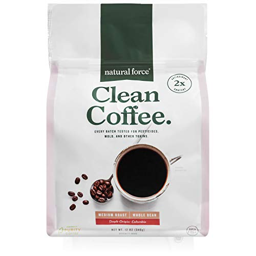 New! Healthy Clean Coffee, Tested for Mold, Pesticides & Toxins - Premium Medium Roast Made from Specialty Grade, Single Origin Organic Whole Beans *High in Antioxidants* by Natural Force, 12 - Clean Natural Beauty