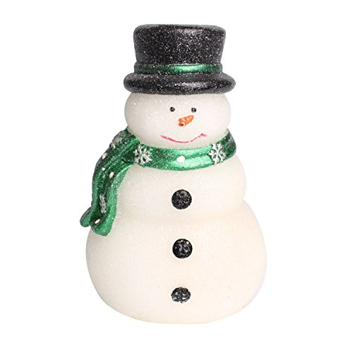 GiveU Battery Operated Lovely Christmas Snowman with Green Scarf, Real Wax LED Candle with Timer