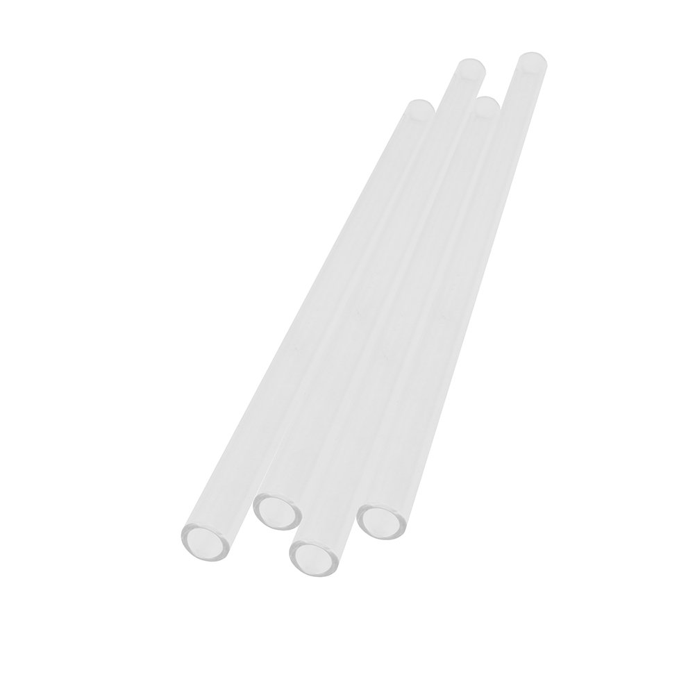 Looching Set of 4 Transparent Straight Glass Straws 9.84 X 0.47 Inch Handmade With Cleaning Straw Brush BPA Free Long Reusable Smoothie Drinking Straws