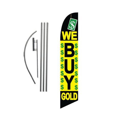 We Buy Gold 15ft Feather Banner Swooper Flag Kit - INCLUDES 15FT POLE KIT w/ GROUND SPIKE