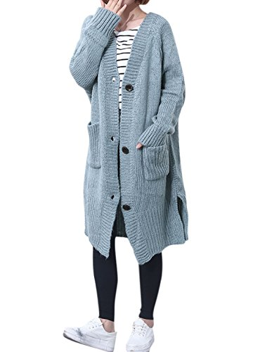 uxcell Women Single Breasted Split Sides Knee Length Sweater Cardigan Grey S